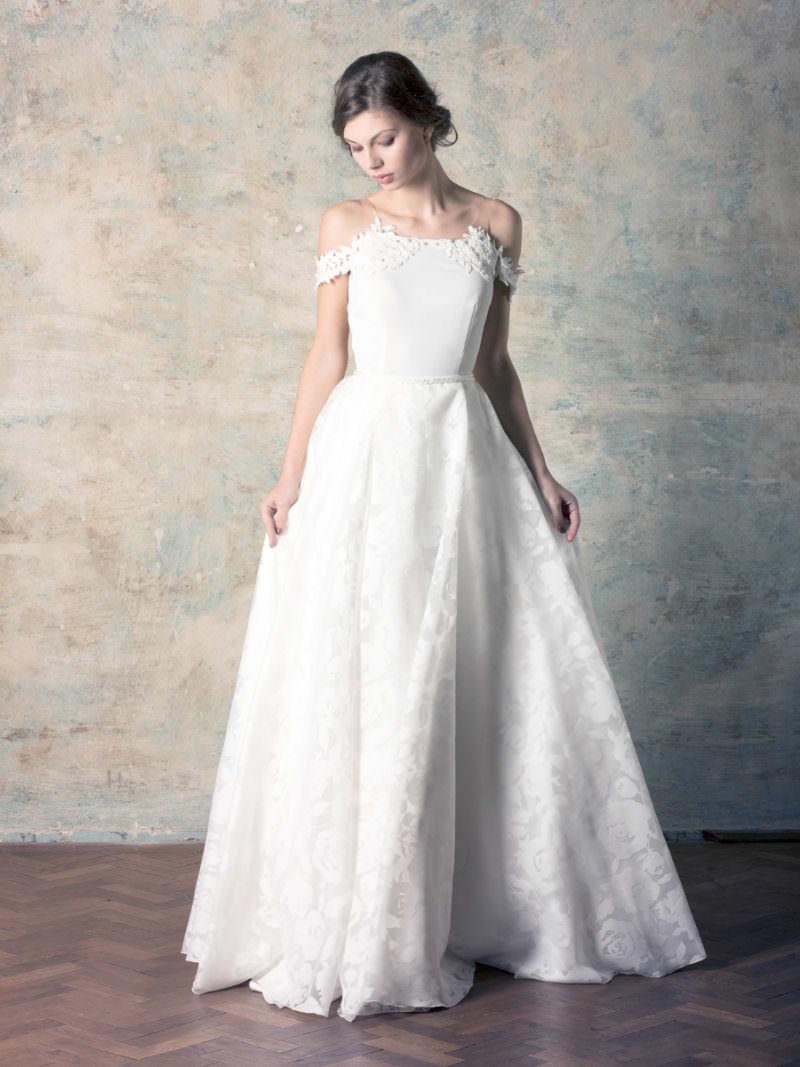 rochie de mireasă florală a line cu umeri căzuți