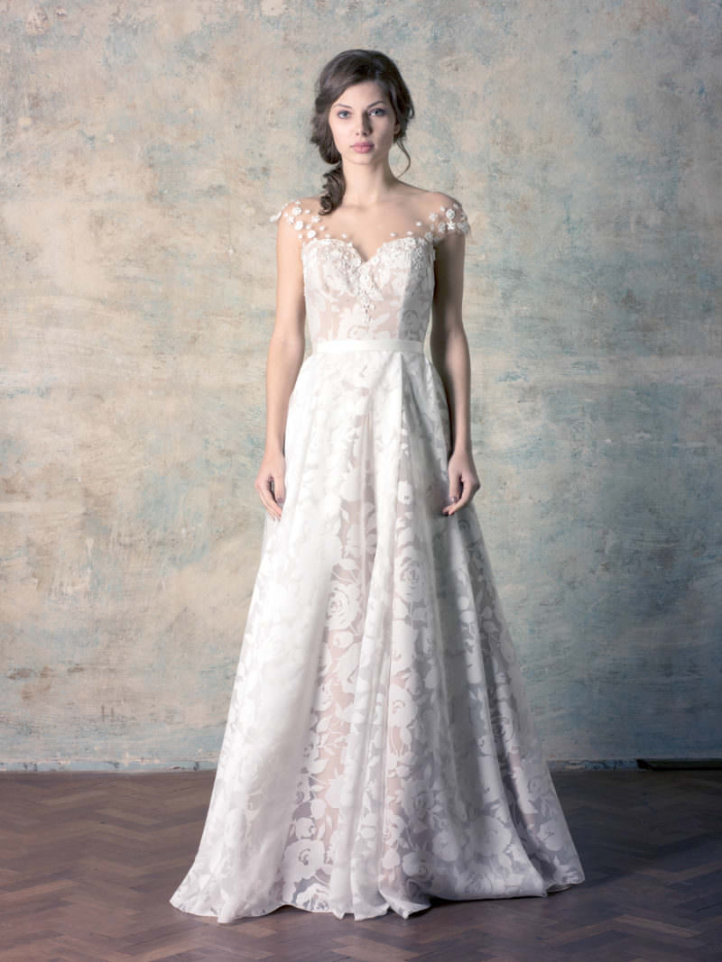 rochie de mireasă nude a line corset cu broderie florală și perle