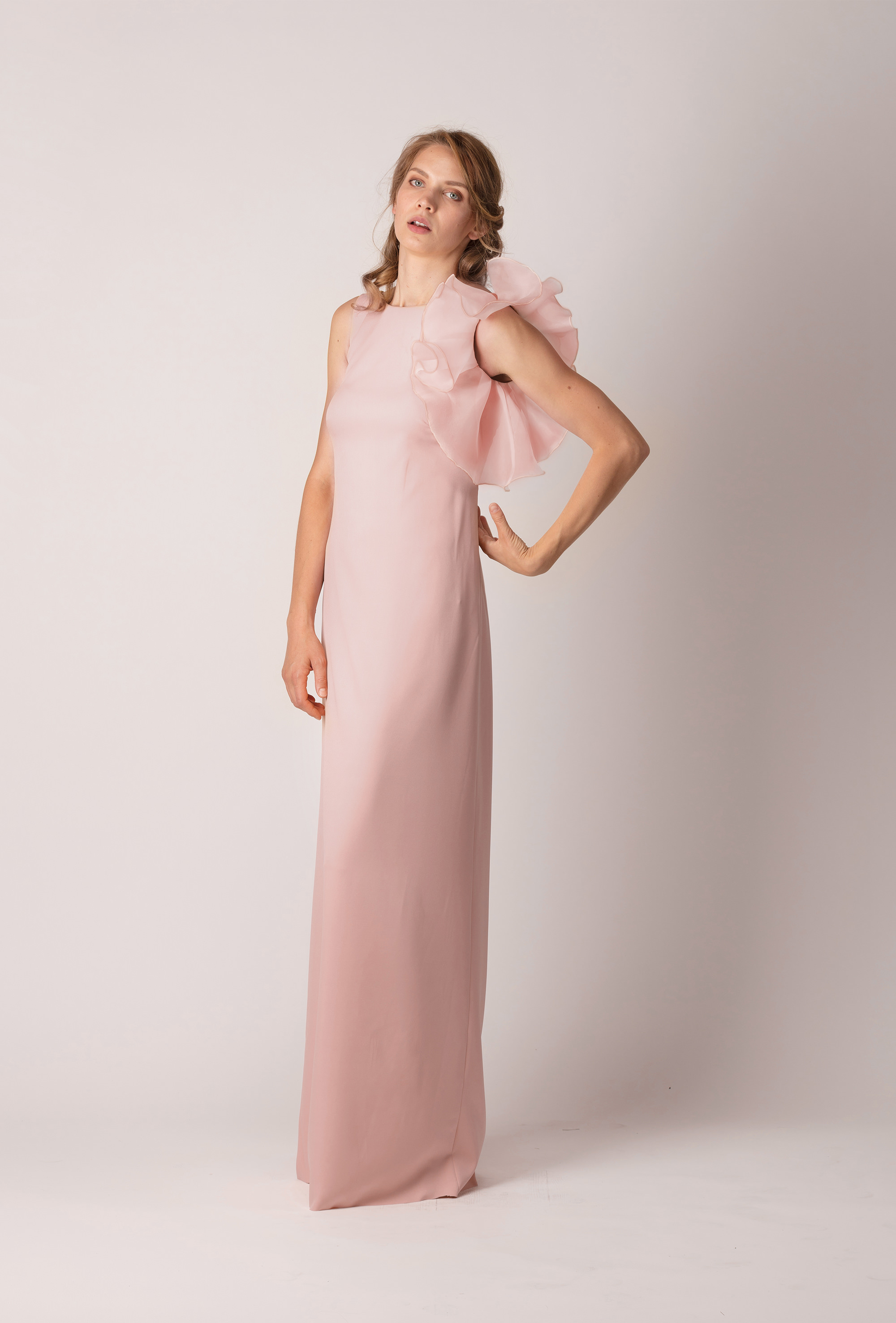 58cdacdc9b ... rózsaszín, hosszú, oldalfodros alkalmi ruha ...