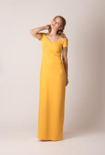 Rochie de seară lungă, dreaptă, fără mâneci de culoare galbenă