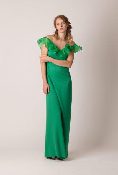Rochie de seară lungă, dreaptă, cu volan pe umeri de culoare smarald