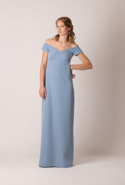 Rochie de seară lungă, dreaptă, fără mâneci de culoare albastră