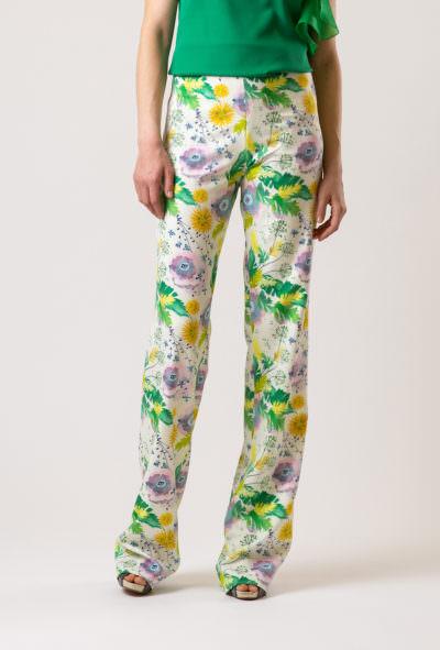 pantaloni damă eleganti cu imprimeu floral de culoare deschisa