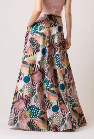 fustă lungă colorată elegantă din georgette creponată